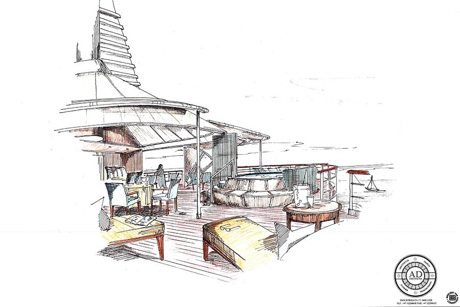 Skisse av båtinnredning AD arkitekter